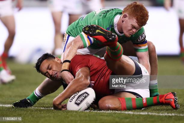 John Sutton of the Rabbitohs drops the ball over the line during the round 10 NRL match between the Canberra Raiders and the South Sydney Rabbitohs...