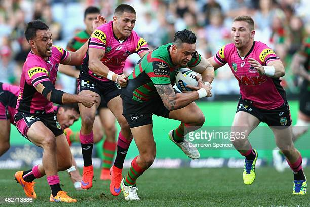 John Sutton of the Rabbitohs heads for the tryline during the round 21 NRL match between the South Sydney Rabbitohs and the Penrith Panthers at ANZ...