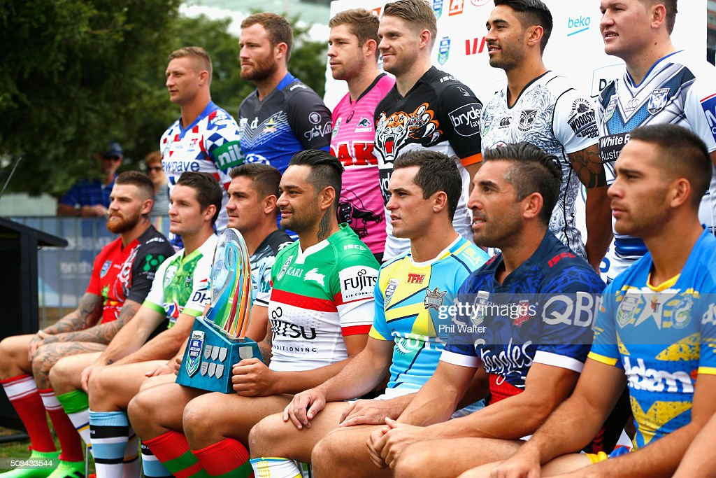 John Sutton of the Rabbitohs holds the NRL Nines trophy during a NRL Auckland Nines captains press conference at Aotea Square on February 5, 2016 in Auckland, New Zealand.