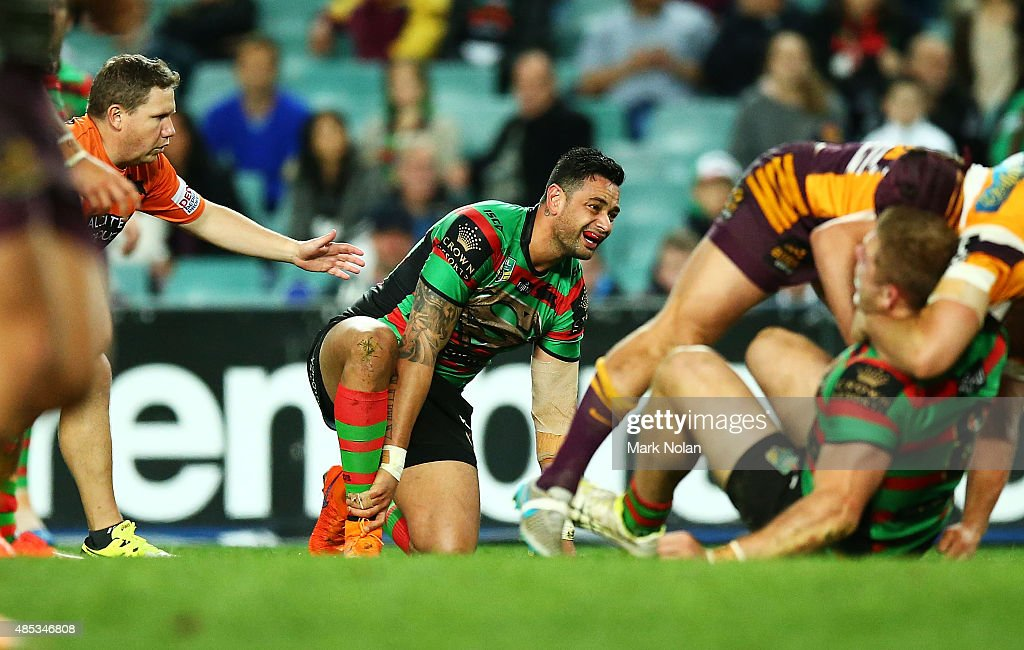 John Sutton of the Rabbitohs is injured during the round 25 NRL match between the South Sydney Rabbitohs and the Brisbane Broncos at Allianz Stadium on August 27, 2015 in Sydney, Australia.