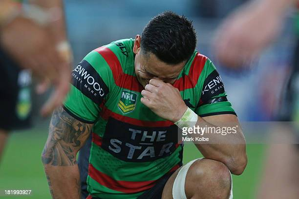 John Sutton of the Rabbitohs looks dejected after defeat during the NRL Preliminary Final match between the South Sydney Rabbitohs and the Manly...