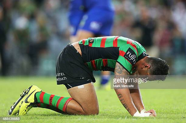 John Sutton of the Rabbitohs looks dejected after defeat in the round seven NRL match between the South Sydney Rabbitohs and the Canterbury-Bankstown...