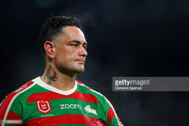 John Sutton of the Rabbitohs looks dejected after losing the round 15 NRL match between the Wests Tigers and the South Sydney Rabbitohs at Bankwest...