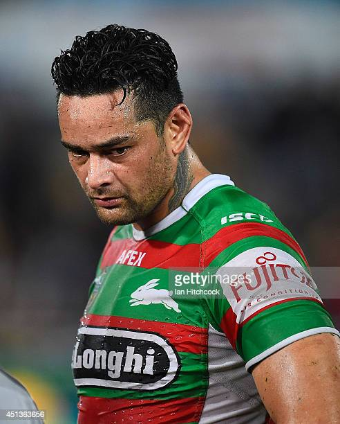 John Sutton of the Rabbitohs looks dejected after losing the round 16 NRL match between the North Queensland Cowboys and the South Sydney Rabbitohs...