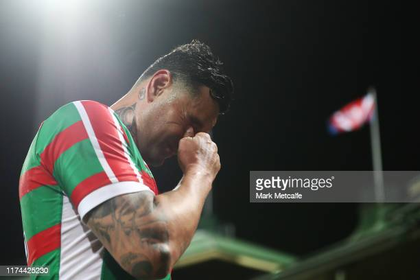 John Sutton of the Rabbitohs looks dejected as he walks off after defeat during the NRL Qualifying Final match between the Sydney Roosters and the...