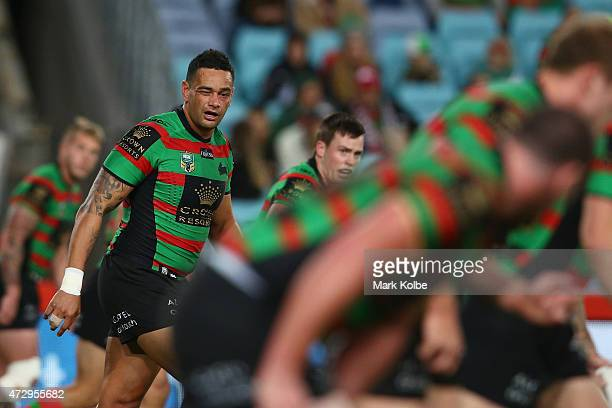 John Sutton of the Rabbitohs looks on after injuring his eye in a tackle during the round nine NRL match between the South Sydney Rabbitohs and the...