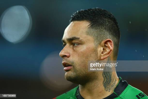 John Sutton of the Rabbitohs looks on during the round 12 NRL match between the South Sydney Rabbitohs and the Newcastle Knights at ANZ Stadium on...