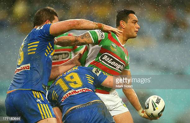 John Sutton of the Rabbitohs looks to offload during the round 15 NRL match between the Parramatta Eels and the South Sydney Rabbitohs at ANZ Stadium...