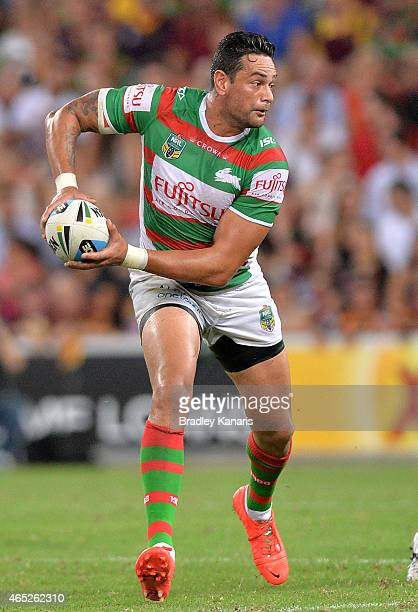John Sutton of the Rabbitohs looks to pass during the round one NRL match between the Brisbane Broncos and the South Sydney Rabbitohs at Suncorp...