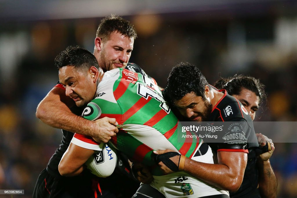 John Sutton of the Rabbitohs on the charge against Karl Lawton of the Warriors during the round 12 NRL match between the New Zealand Warriors and the South Sydney Rabbitohs at Mt Smart Stadium on May 26, 2018 in Auckland, New Zealand.