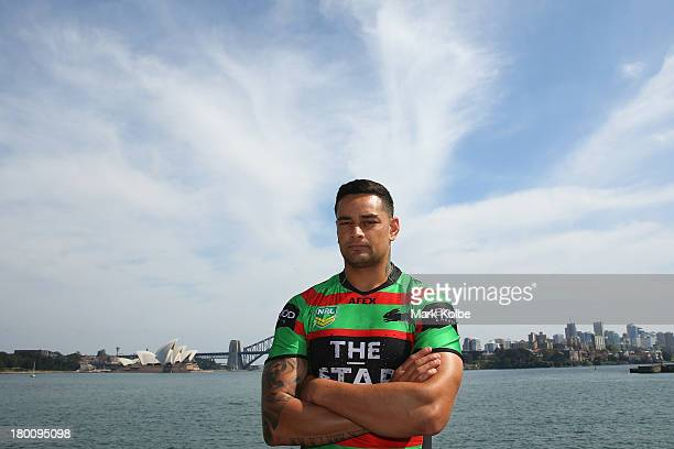 John Sutton of the Rabbitohs poses during the 2013 NRL Finals Captain's Call aboard the HMAS Leeuwin at the Garden Island Naval Base on September 9,...