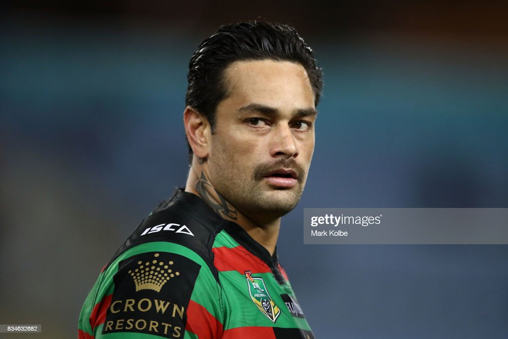 John Sutton of the Rabbitohs watches on during the round 24 NRL match between the South Sydney Rabbitohs and the New Zealand Warriors at ANZ Stadium on August 18, 2017 in Sydney, Australia.