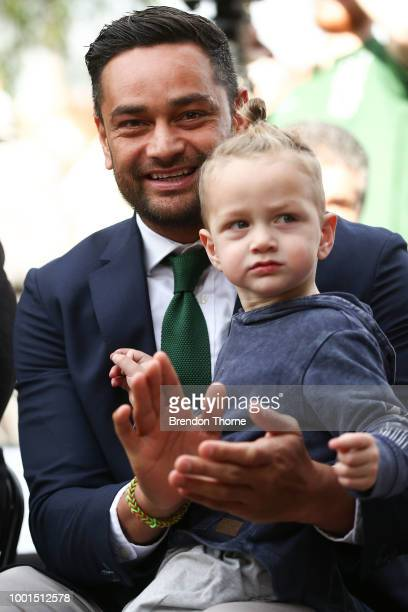 John Sutton sits with his son Ace Sutton during a South Sydney Rabbitohs NRL media opportunity at Kensington Oval on July 19 2018 in Sydney Australia