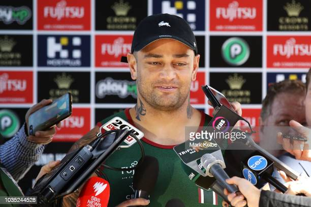 John Sutton speaks to the press during a South Sydney Rabbitohs NRL media opportunity at Redfern Oval on September 18 2018 in Sydney Australia