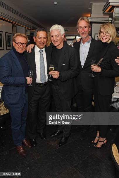 John Swannell Jesus Adorno John Frieda Mike Rutherford and Marianne Swannell attend the launch of John Swannell's photography exhibition at Le...