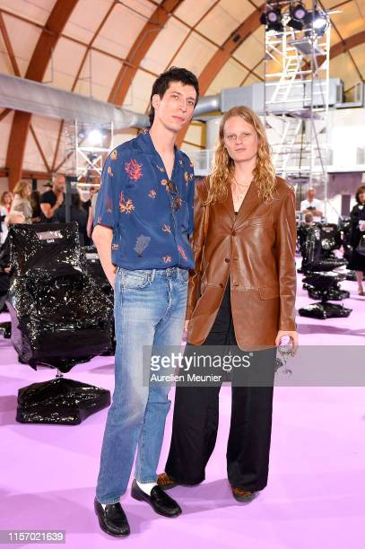 John Swiatek and Hanne Gaby Odiele attend the Raf Simons Menswear Spring Summer 2020 show as part of Paris Fashion Week on June 19 2019 in Paris...