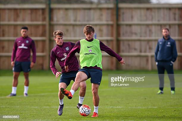 John Swift and Solly March in action during England U21 Training at the American Express Elite Football Performance Centre on November 13 2015 in...