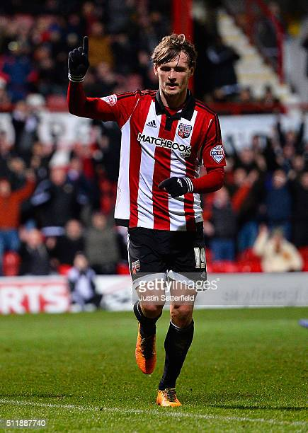 John Swift of Brentford FC celebrates scoring the 3rd brentford goal during the Sky Bet Championship match between Brentford and Wolverhampton...