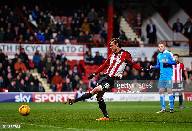 John Swift of Brentford FC scores the 3rd brentford goal during the Sky Bet Championship match between Brentford and Wolverhampton Wanderers on...