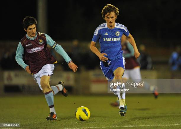John Swift of Chelsea Youth and Daniel Potts of West Ham Utd Youth during a FA Youth cup 5th Round match between Chelsea Youth and West Ham United...