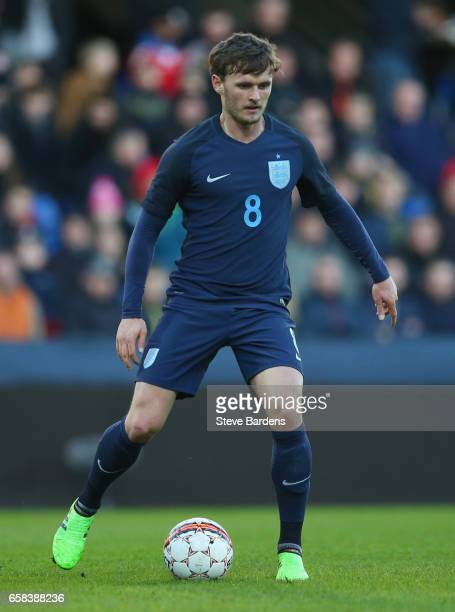 John Swift of England in action during the U21 international friendly match between Denmark and England at BioNutria Park on March 27 2017 in Randers...