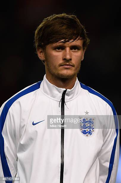 John Swift of England lines up for the National Anthems ahead of the European Under 21 Qualifier between England U21 and Switzerland U21 at Amex...