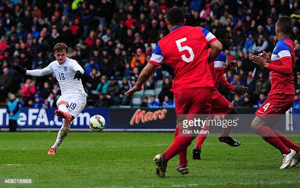 John Swift of England scores the opening goal during the International Friendly match between England U20 and USA U20 at Home Park on March 29 2015...