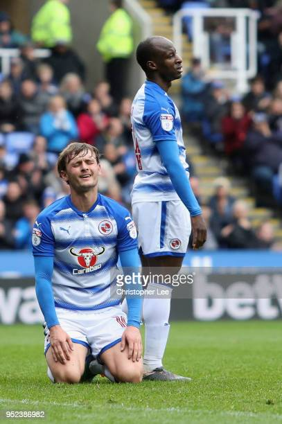 John Swift of Reading on his knees after he misses a good chance to score during the Sky Bet Championship match between Reading and Ipswich Town at...