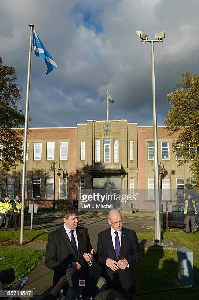 John Swinney Scottish cabinet Secretary for Finance Sustainable Growth and Alistair Carmichael Secretary of State for Scotland talk to the media...