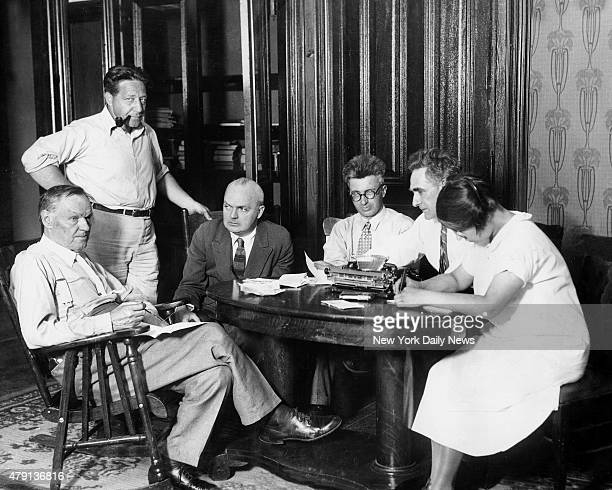 John T Scopes' defense lawyers Clarence Darrow Arthur Garfield Hayes Dudley Field Malone George Rappelyea and John R Neal during court's recess of...