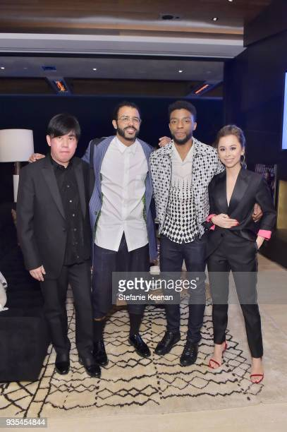 John Tan Daveed Diggs Chadwick Boseman and Ashley Weston attend The Hollywood Reporter and Jimmy Choo Power Stylists Dinner on March 20 2018 in Los...