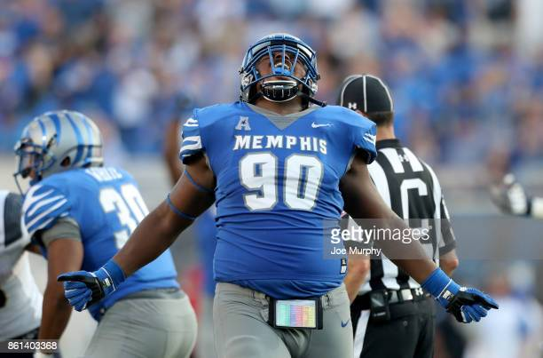 John Tate of the Memphis Tigers celebrates against the Navy Midshipmen on October 14 2017 at Liberty Bowl Memorial Stadium in Memphis Tennessee...