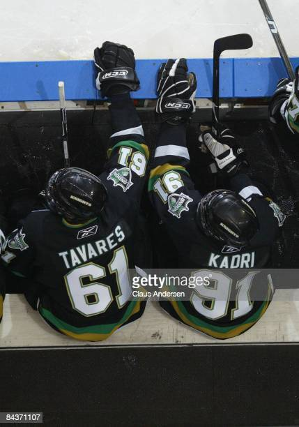 John Tavares and Nazem Kadri of the London Knights sit on the bench during a game against the Guelph Storm on January 16 2009 at the John Labatt...