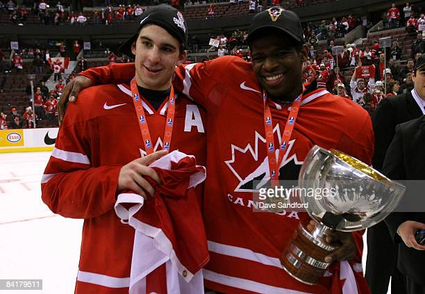 John Tavares and PK Subban both of Team Canada celebrate after defeating Team Sweden during the 2009 IIHF World Junior Championships held at...