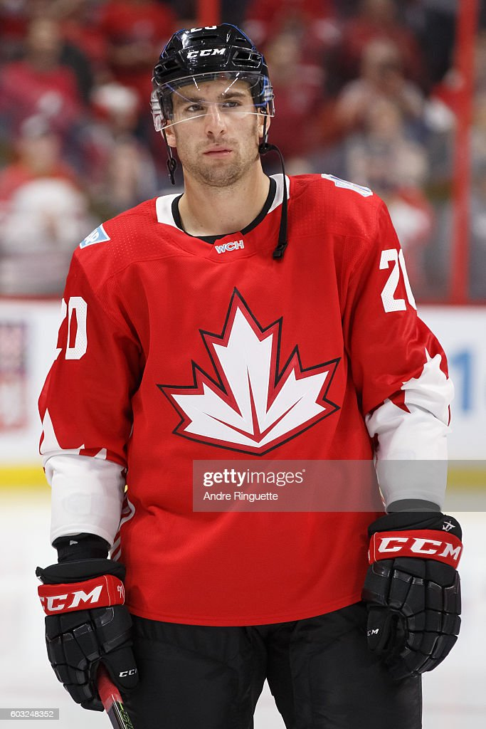 best authentic b53eb dea74 John Tavares of Team Canada looks on prior to a World Cup of ...