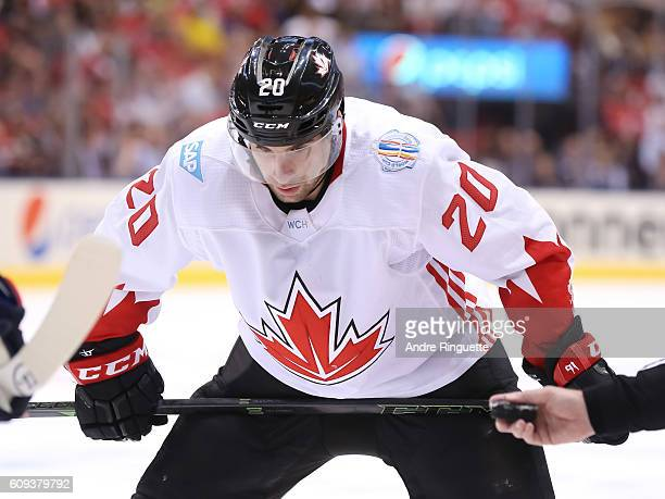 John Tavares of Team Canada prepares for a faceoff against Team USA during the World Cup of Hockey 2016 at Air Canada Centre on September 20 2016 in...