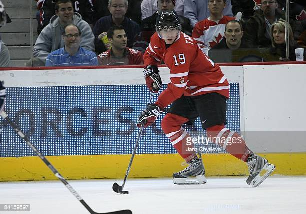 John Tavares of Team Canada shoots the puck against Team USA during the 2009 IIHF World Junior Championships held at Scotiabank Place on December 31...