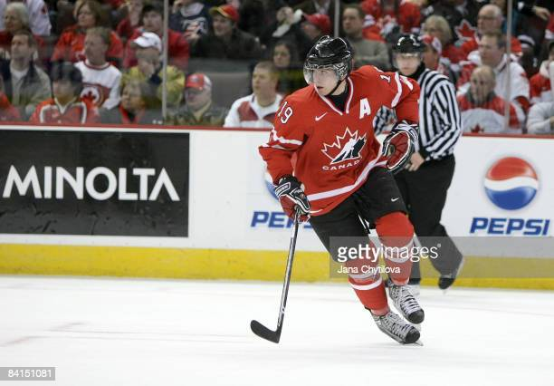 John Tavares of Team Canada skates against Team USA during the IIHF World Junior Championships held at Scotiabank Place on December 31, 2008 in...