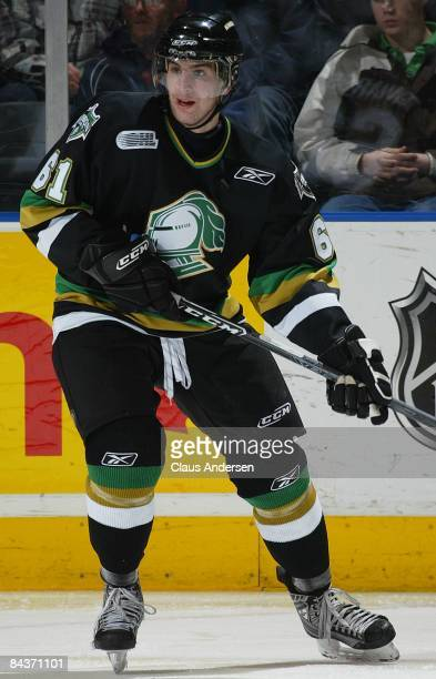 John Tavares of the London Knights skates in a game against the Guelph Storm on January 16 2009 at the John Labatt Centre in London Ontario The Storm...