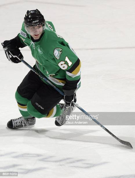 John Tavares of the London Knights skates in a game against the Kitchener Rangers on March 5 2009 at the John Labatt Centre in London Ontario The...