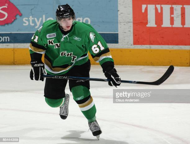 John Tavares of the London Knights skates in a game against the Saginaw Spirit on March 13, 2009 at the John Labatt Centre in London, Ontario. The...