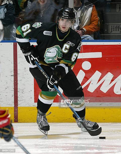 John Tavares of the London Knights skates with the puck in a game against the Erie Otters on February 13 2009 at the John Labatt Centre in London...
