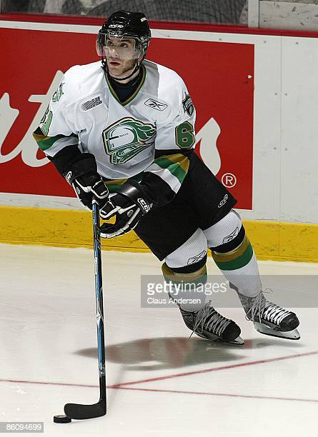 John Tavares of the London Knights skates with the puck in Game Three of the Western Conference Championship against the Windsor Spitfires on April...