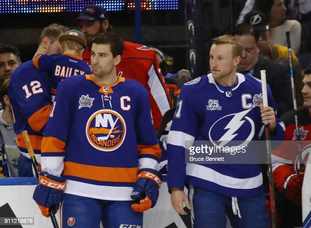 John Tavares of the New York Islanders and Steven Stamkos of the Tampa Bay Lightning take part in the 2018 GEICO NHL AllStar Skills Competition at...