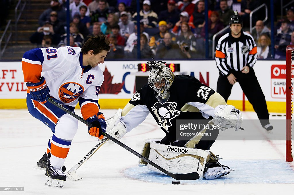 John Tavares #91 of the New York Islanders and Team Toews competes against Marc Andre-Fleury #29 of the Pittsburgh Penguins and Team Foligno during the Discover NHL Shootout event of the 2015 Honda NHL All-Star Skills Competition at Nationwide Arena on January 24, 2015 in Columbus, Ohio.