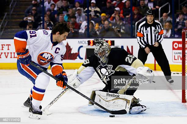 John Tavares of the New York Islanders and Team Toews competes against Marc AndreFleury of the Pittsburgh Penguins and Team Foligno during the...