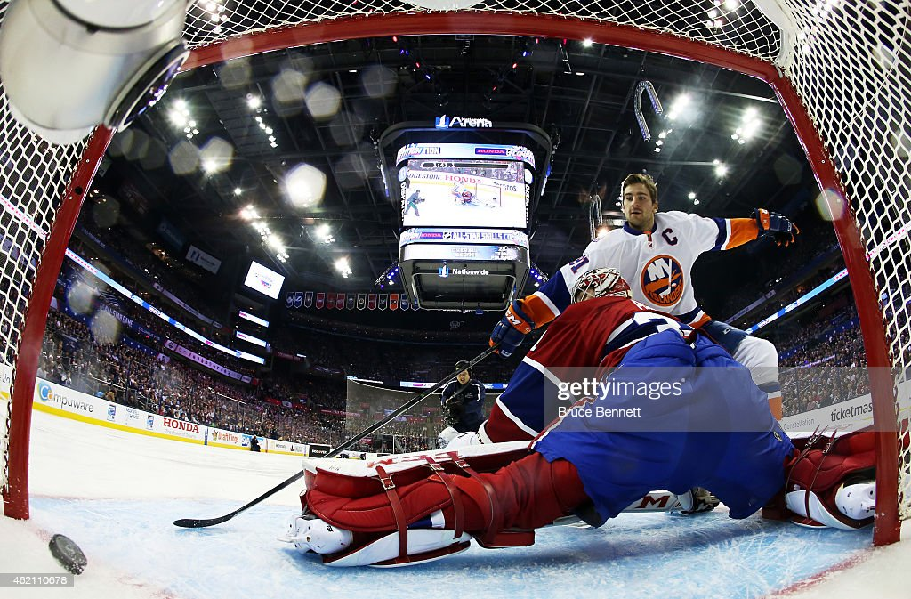 John Tavares #91 of the New York Islanders and Team Toews shoots against Carey Price #31 of the Montreal Canadiens and Team Foligno during the 2015 Honda NHL All-Star Skills Competition at the Nationwide Arena on January 24, 2015 in Columbus, Ohio.