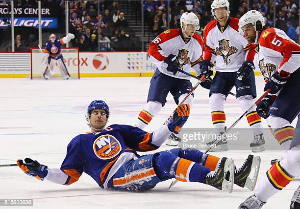John Tavares of the New York Islanders argues the lack of a penalty call during the game against the Florida Panthers at the Barclays Center on March...