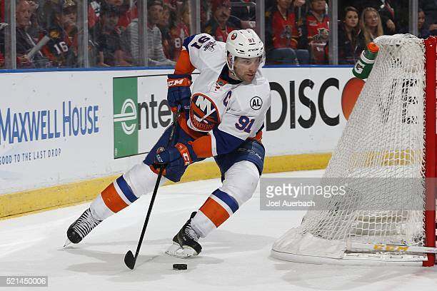 John Tavares of the New York Islanders attempts to center th epic in front of the Florida Panthers net in Game Two of the Eastern Conference...