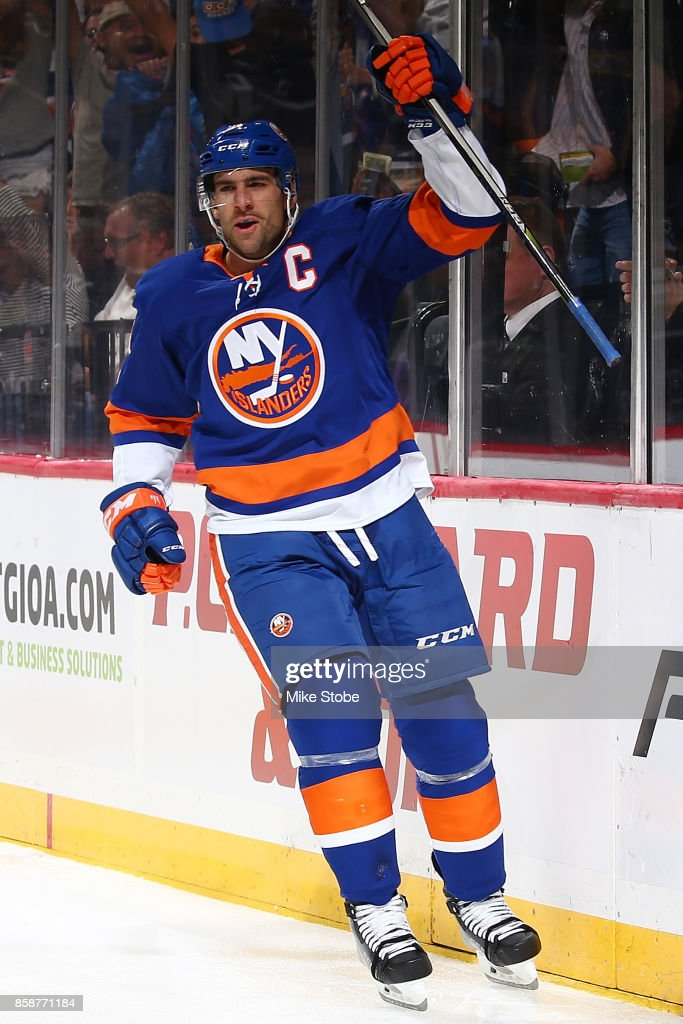 John Tavares #91 of the New York Islanders celebrates his first period goal against the Columbus Blue Jackets at Barclays Center on October 7, 2017 in New York City.